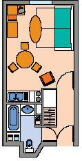 Floor plan for a studio apartment in the citadines barcelona ramblas